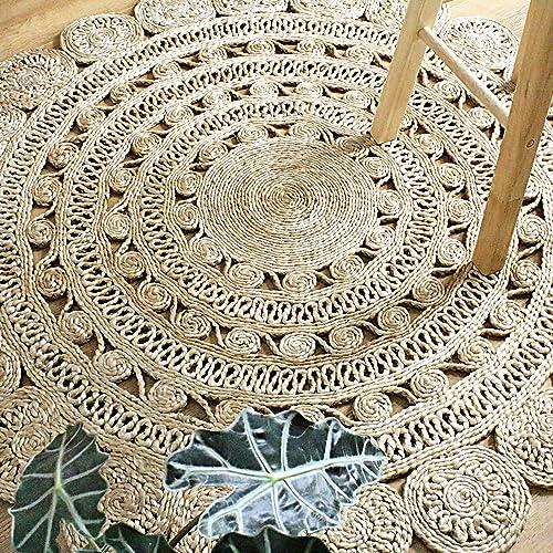 Outlavish Round Jute Area Rug Woven Golden Leaf Handmade 5 Feet, Natural