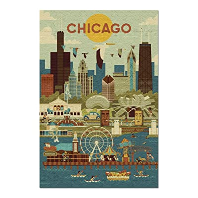 Chicago, Illinois - Geometric 107817 (Premium 1000 Piece Jigsaw Puzzle for Adults, 20x30, Made in USA!): Toys & Games