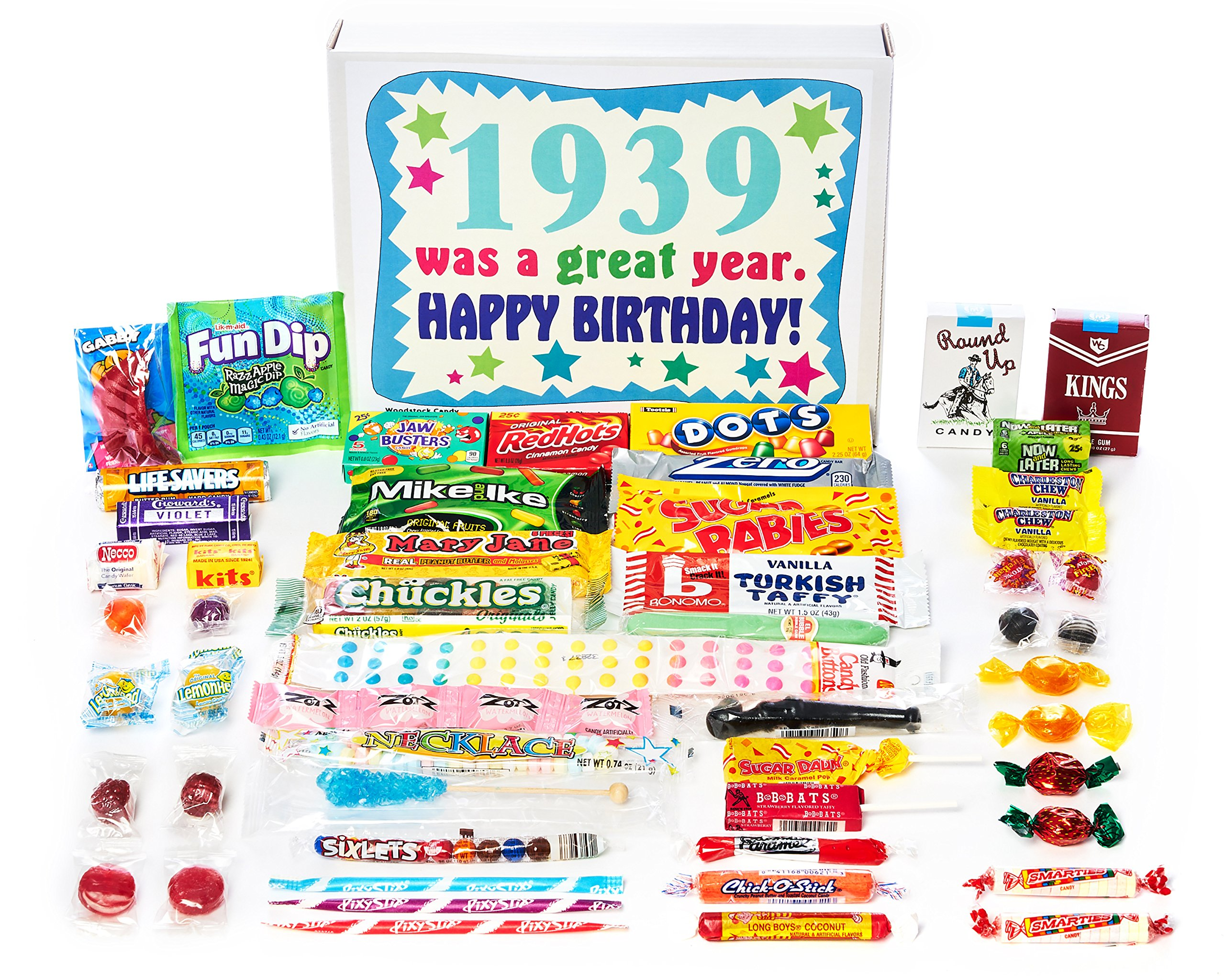 Woodstock Candy ~ 1939 80th Birthday Gift Box Nostalgic Retro Candy from Childhood for 80 Year Old Man or Woman Born 1939