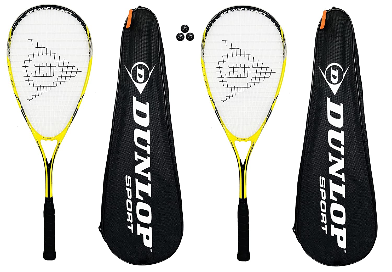 2 x Dunlop Nanomax Ti Lite Squash Rackets + Cover + 3 Squash Balls