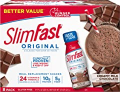 SlimFast Original Creamy Milk Chocolate Shake – Ready to Drink Weight Loss Meal Replacement – 10g Protein – 11 Fl. Oz. Bottle