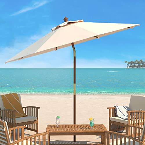 Safavieh PAT8009A Collection Cannes Beige 9Ft Wooden Outdoor Umbrella, 9-Foot