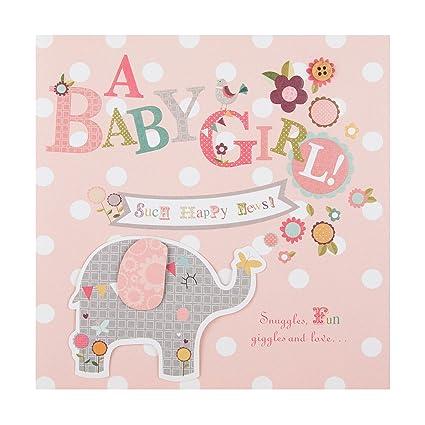 Tarjeta de felicitación para nacimiento de niña «Happy News» de Hallmark, tamaño mediano