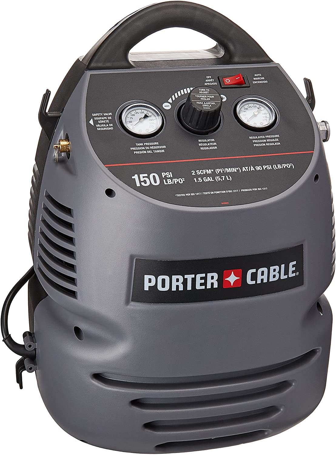 PORTER-CABLE CMB15 (1.5 Gallon) Oil-Free Fully Shrouded / Hand Carry Compressor Kit with 25' Hose