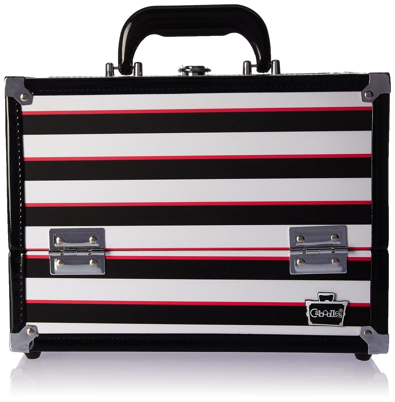 Caboodles Stylist 6 Tray Train Case, Black/White Stripe, 4.3 Pound 581110