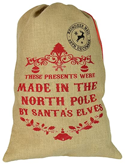 Regali Di Natale Inglese.Nicola Spring Sacco Di Iuta Per Regali Di Natale These Presents Were Made In The North Pole Lingua Inglese