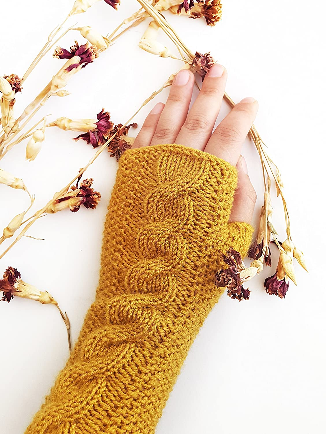Mustard cable knit gloves - Knit fingerless gloves
