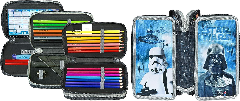 Star Wars - Estuche escolar para lápices, regla, goma de borrar, etc.: Amazon.es: Oficina y papelería