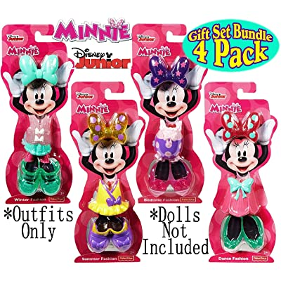 "Fisher-Price Disney Junior Minnie Mouse Snap-On Fashions ""Dance"", ""Bedtime"", ""Summer"" & ""Winter"" Complete Gift Set Bundle - 4 Pack: Toys & Games"