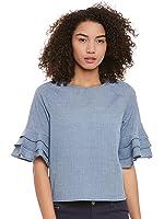 Femella Fashion's Blue ruffle sleeve top
