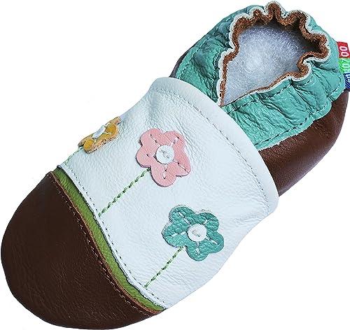 Chaussures Bebe Pantoufle Bebe Bobux Chausson Cuir Souple B/éb/é Spekkel Blossom