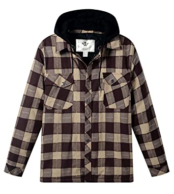 62f8ee784cc WenVen Men s Thicken Plaid Flannel Quilted Shirt Jacket with Hood at ...