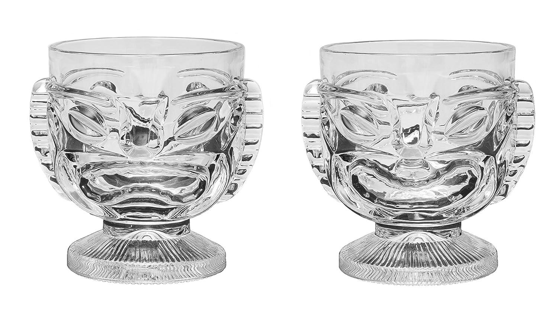 Waikoloa Street Tiki Glass - 15 oz. Cocktail Mug for Mai Tai, Punch, Pina Colada, and Tropical bar Drinks. Island-Themed Party Home barware Glasses, (2)