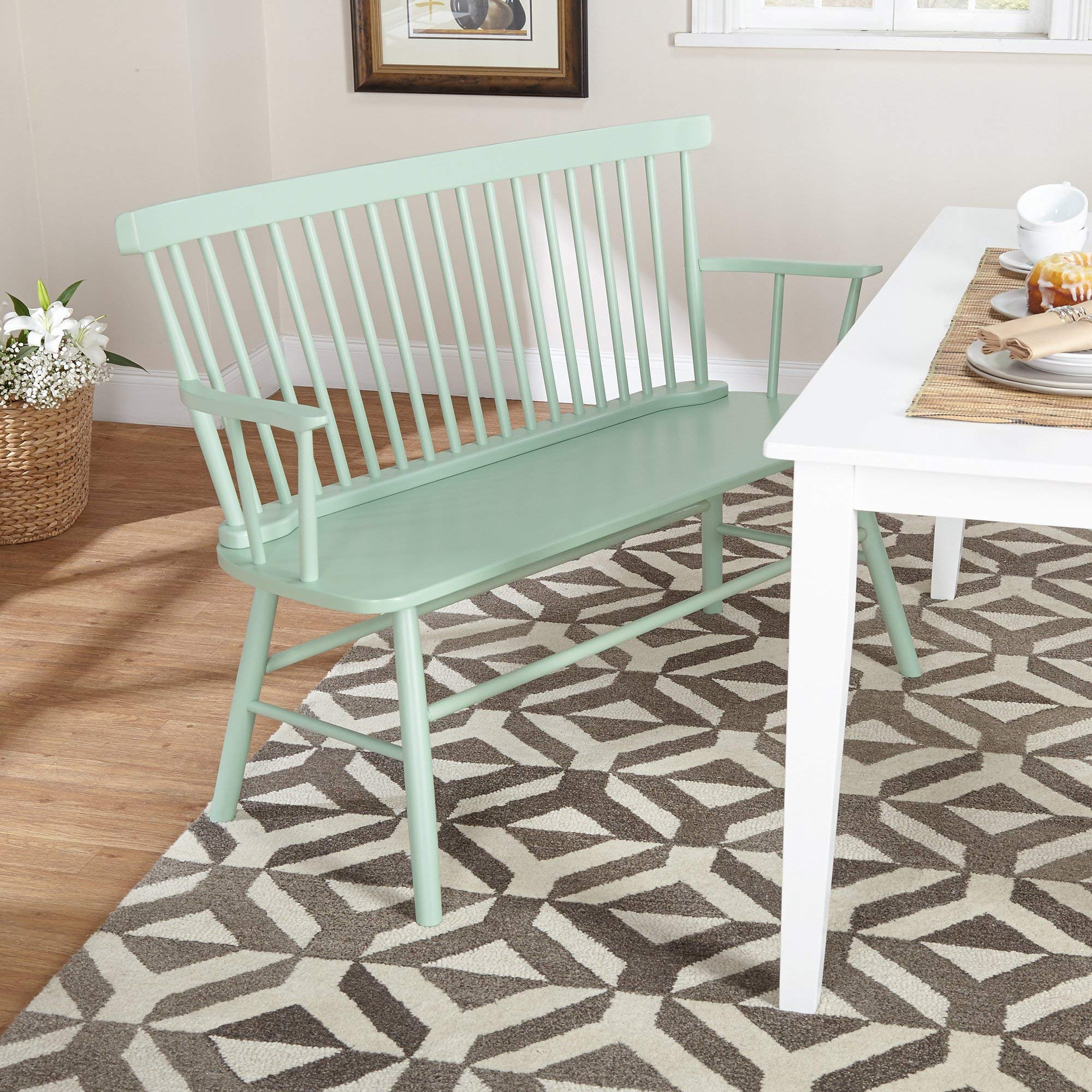 Target Marketing Systems Shelby Wooden Bench with Spindle Back and Arms, Mint by Target Marketing Systems (Image #2)