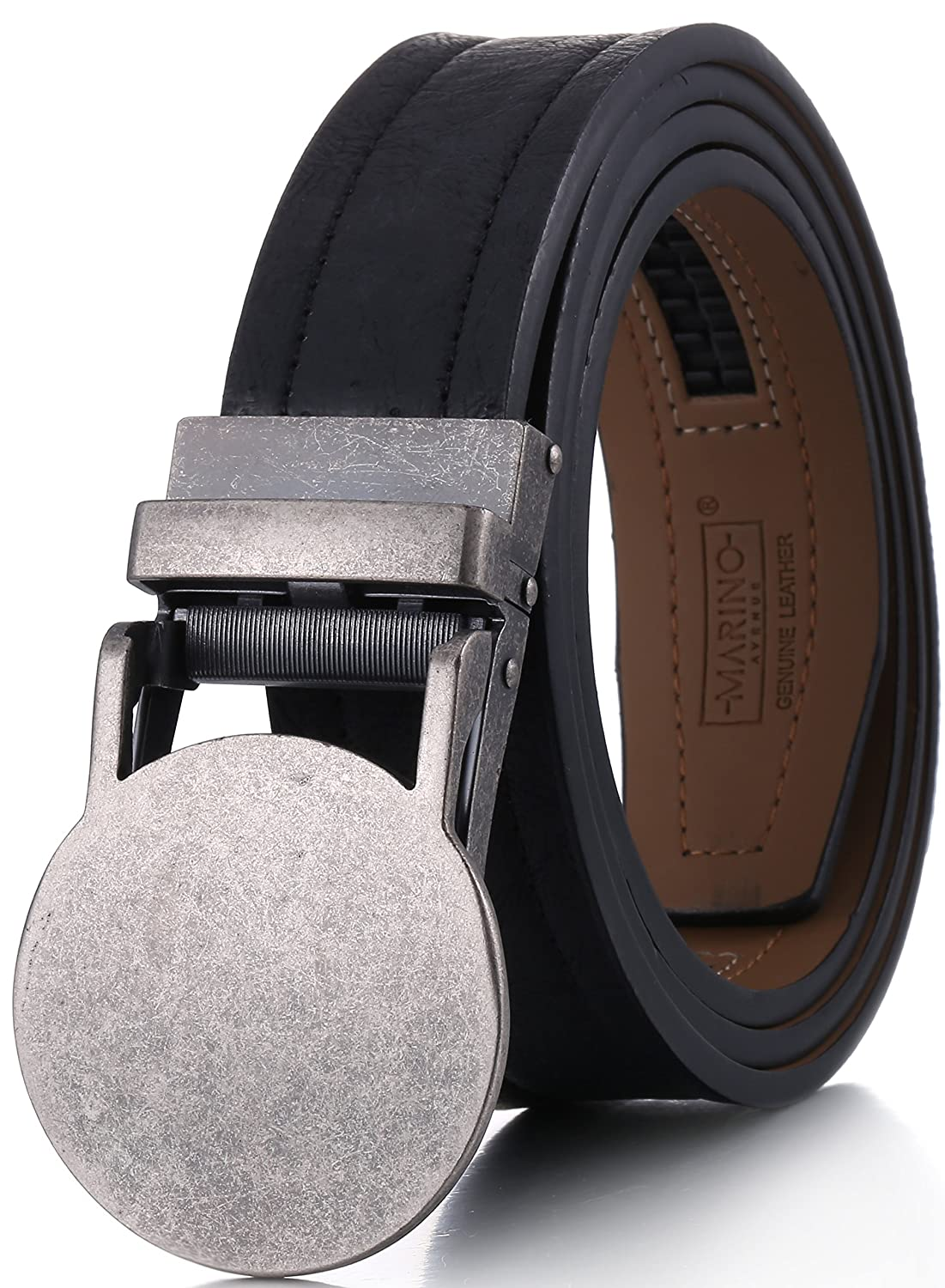 Marino Avenue Genuine Leather belt for Men, 1.3/8 Wide, Casual Ratchet Belt with Automatic Linxx Buckle 1.3/8 Wide