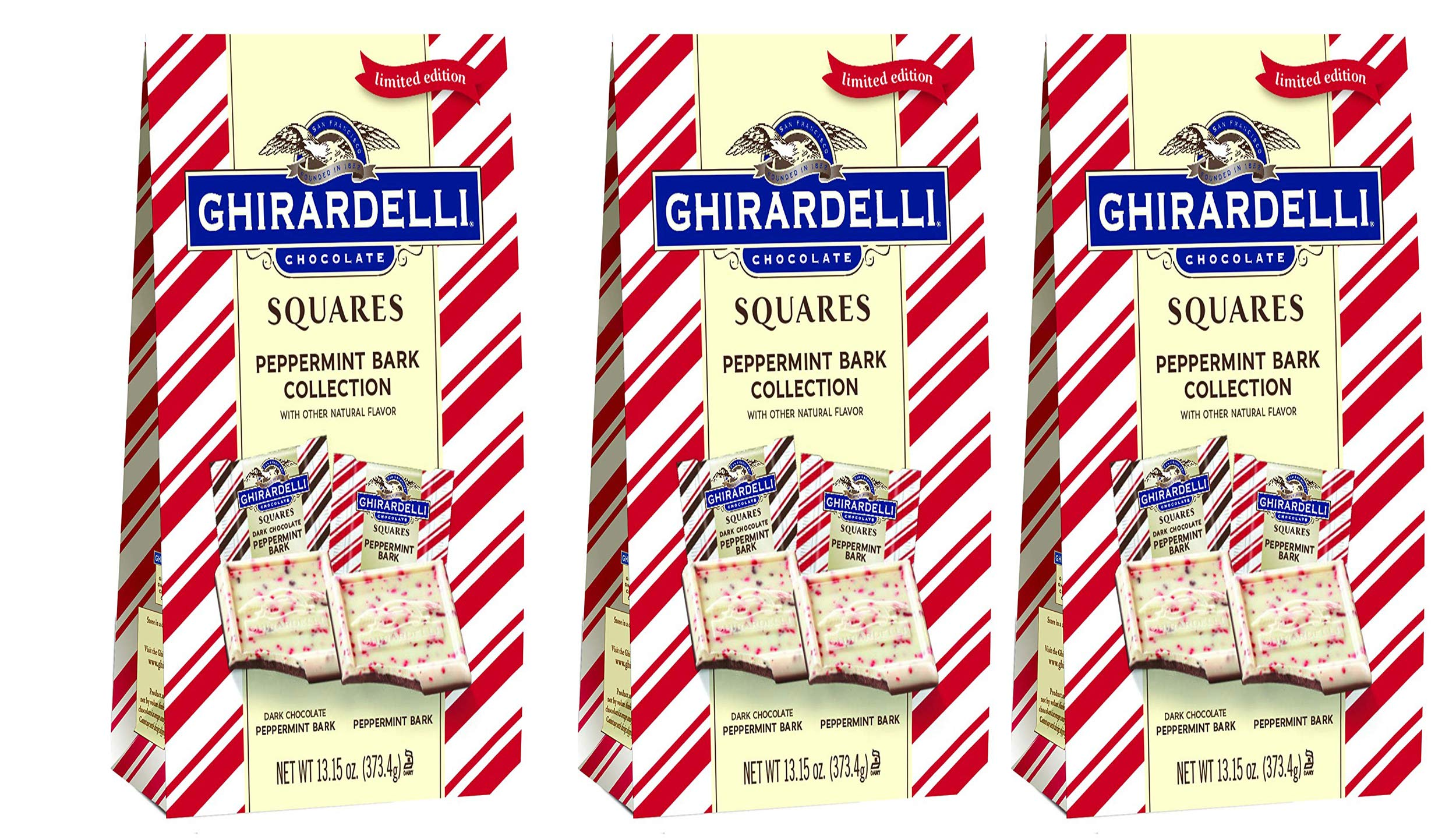 Ghirardelli Limited Edition Peppermint Bark Squares (3-Pack) by Ghirardelli