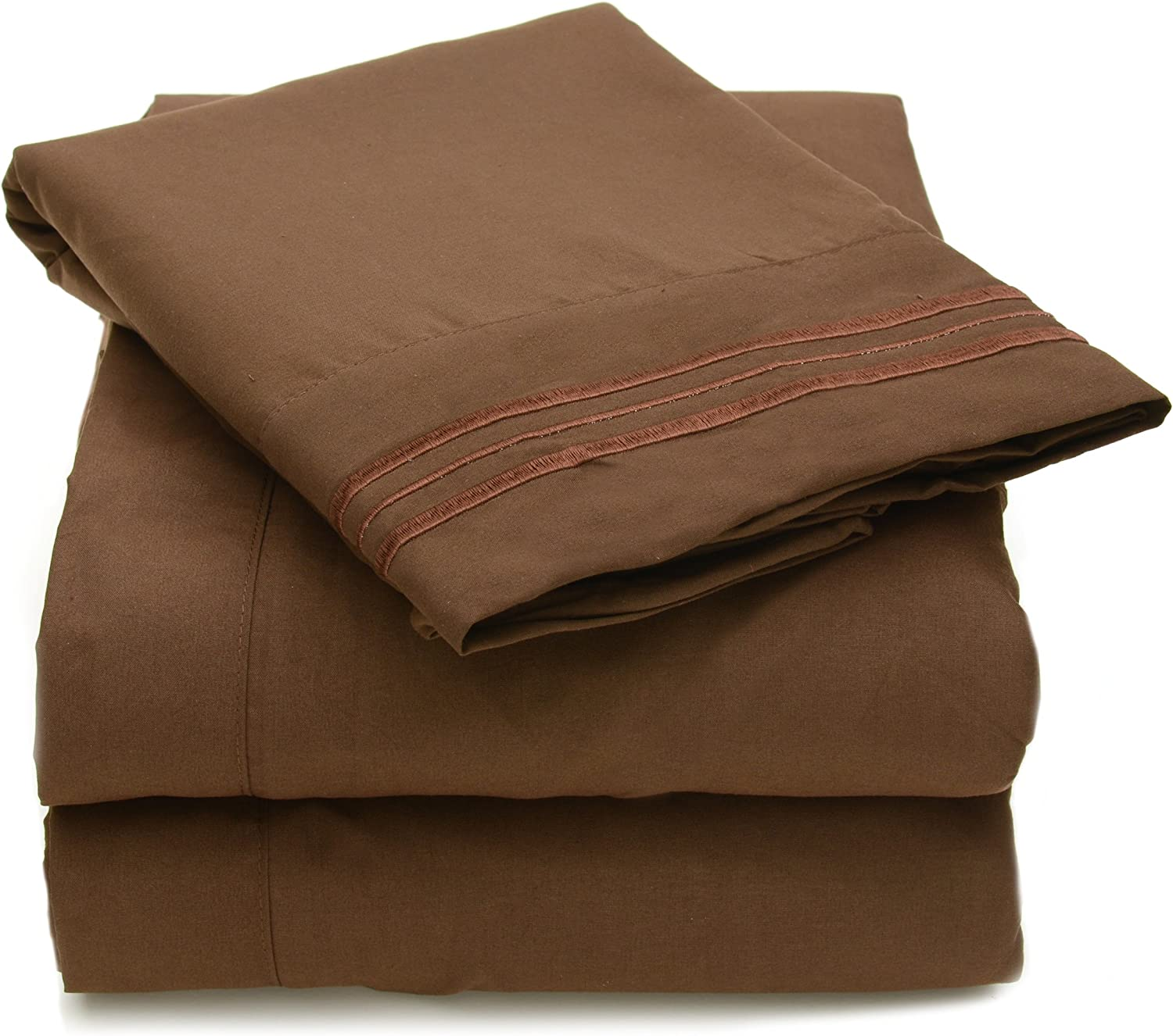 Sweet Home Collection 12 Colors Collection 4 Piece Egyptian Quality Deep Pocket Bed Sheet Set, Full, Brown