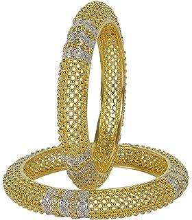 Muchmore Fashionable Silver Tone Diamond Swarovski Elements Indian Bangles Traditional Partywear Jewelry pC5U5