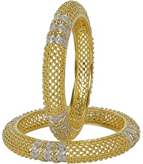 Muchmore Fashionable Silver Tone Diamond Swarovski Elements Indian Bangles Traditional Partywear Jewelry