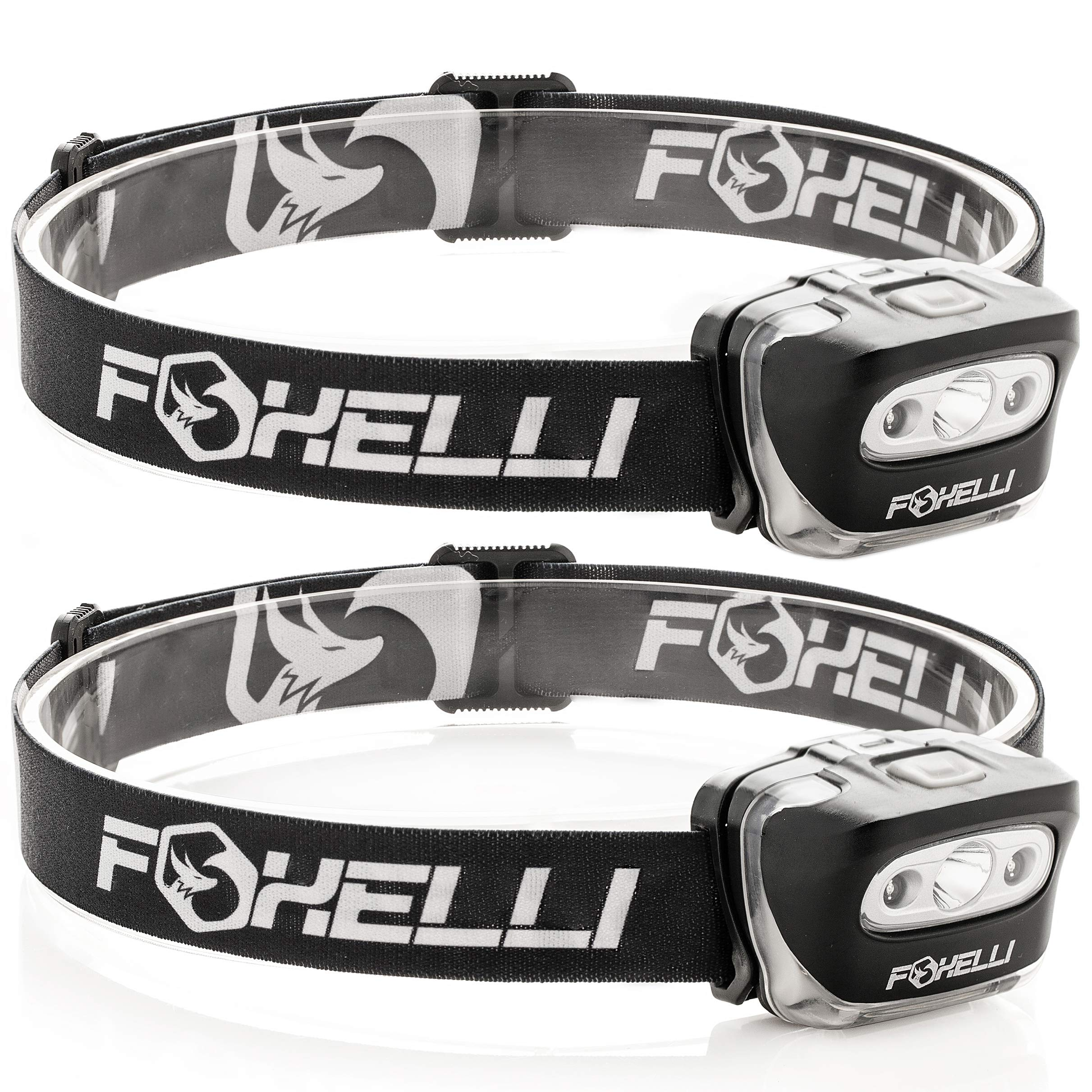 Foxelli Headlamp Flashlight (2-Pack) - 165 Lumen, 3 x AAA Batteries Operated (Included), Bright White Cree Led & Red Light, Perfect for Runners, Lightweight, Waterproof, Adjustable Headband by Foxelli