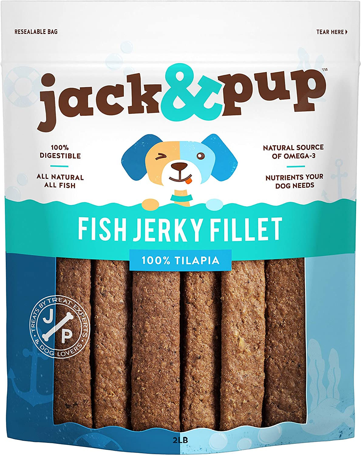 Jack&Pup Fish Jerky Dog Treats - Natural and Organic Training Treat for Dogs - Fresh and Savory Tilapia Dog Chew - Made with Real Fish (2lb Bag)