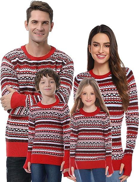 Akalnny Maglioni di Natale Famiglia per Donna Uomo,Maglioni Natalizi Famiglia Maglione Natalizio Coppia Manica Lunga Pullover con Renna