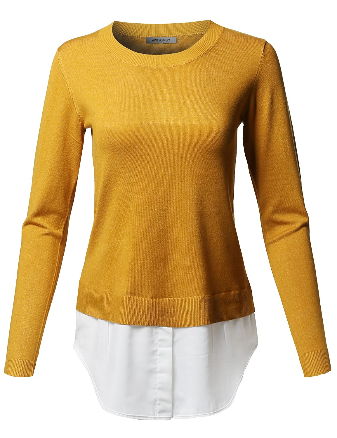 Awesome21 Women's Classic Soft Stretch Shirt Tail Contrast Viscose Sweater Top