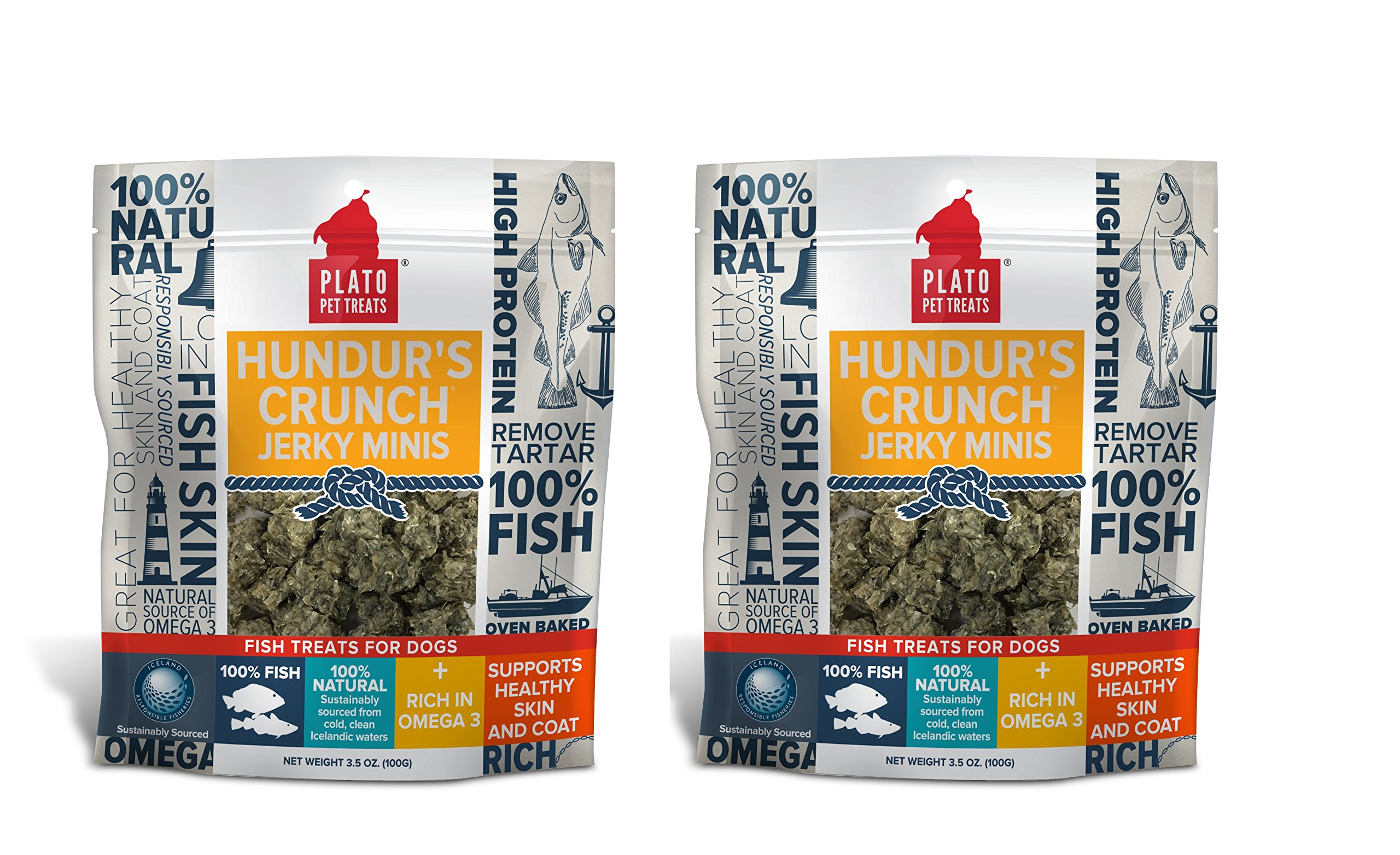 PLATO Dog Treats - Hundur's Crunch Jerky Minis - Pet Treats, All-Natural, Non-GMO, No Artificial Flavors, or Preservatives, Made in the USA