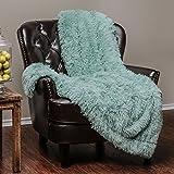 """Chanasya Super Soft Long Shaggy Chic Fuzzy Fur Faux Fur Warm Elegant Cozy With Fluffy Sherpa Aqua Blue Microfiber Throw Blanket (50"""" x 65"""") - Solid Shaggy Turquoise"""