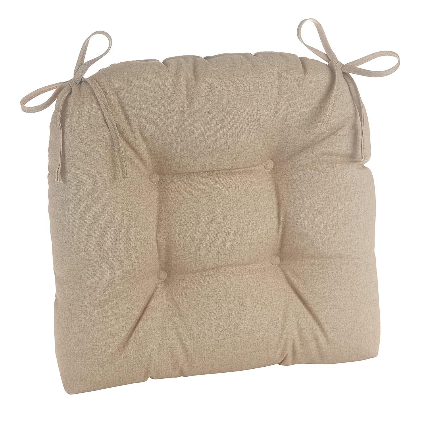 Klear Vu Indoor and Outdoor Large Dining Accent Chair Pad Cushion with Ties, 19 x 18 , Husk Birch