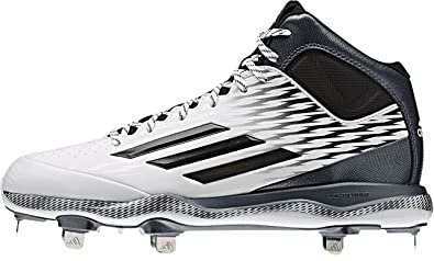 new style df1f7 63a79 adidas PowerAlley 3.0 Mid Mens Baseball Cleat 10.5 White Black Carbon Met