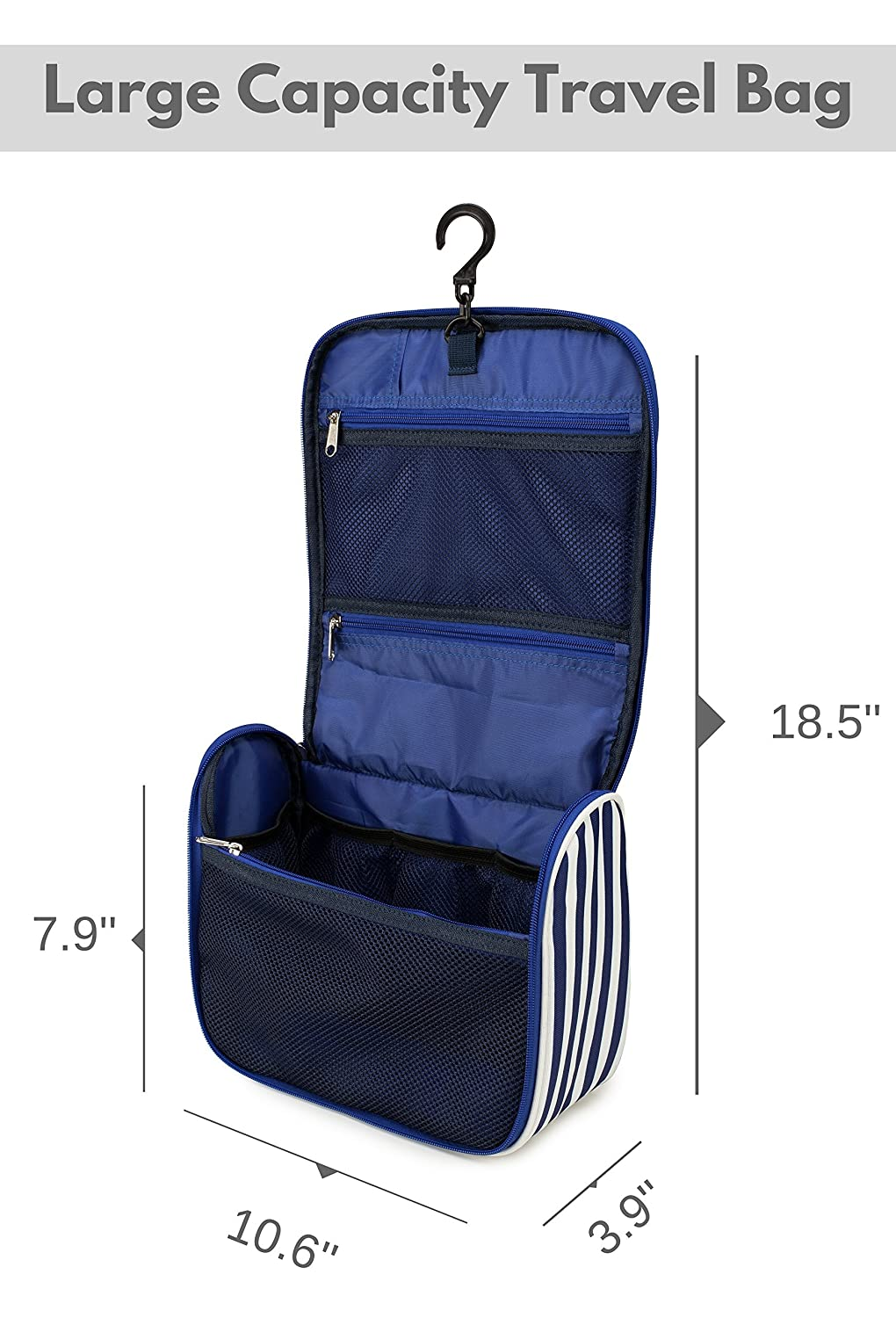 2fb41043a3f1 Amazon.com  7Senses Hanging Toiletry Bag - Large Capacity Travel Bag for  Women and Men - Toiletry Kit