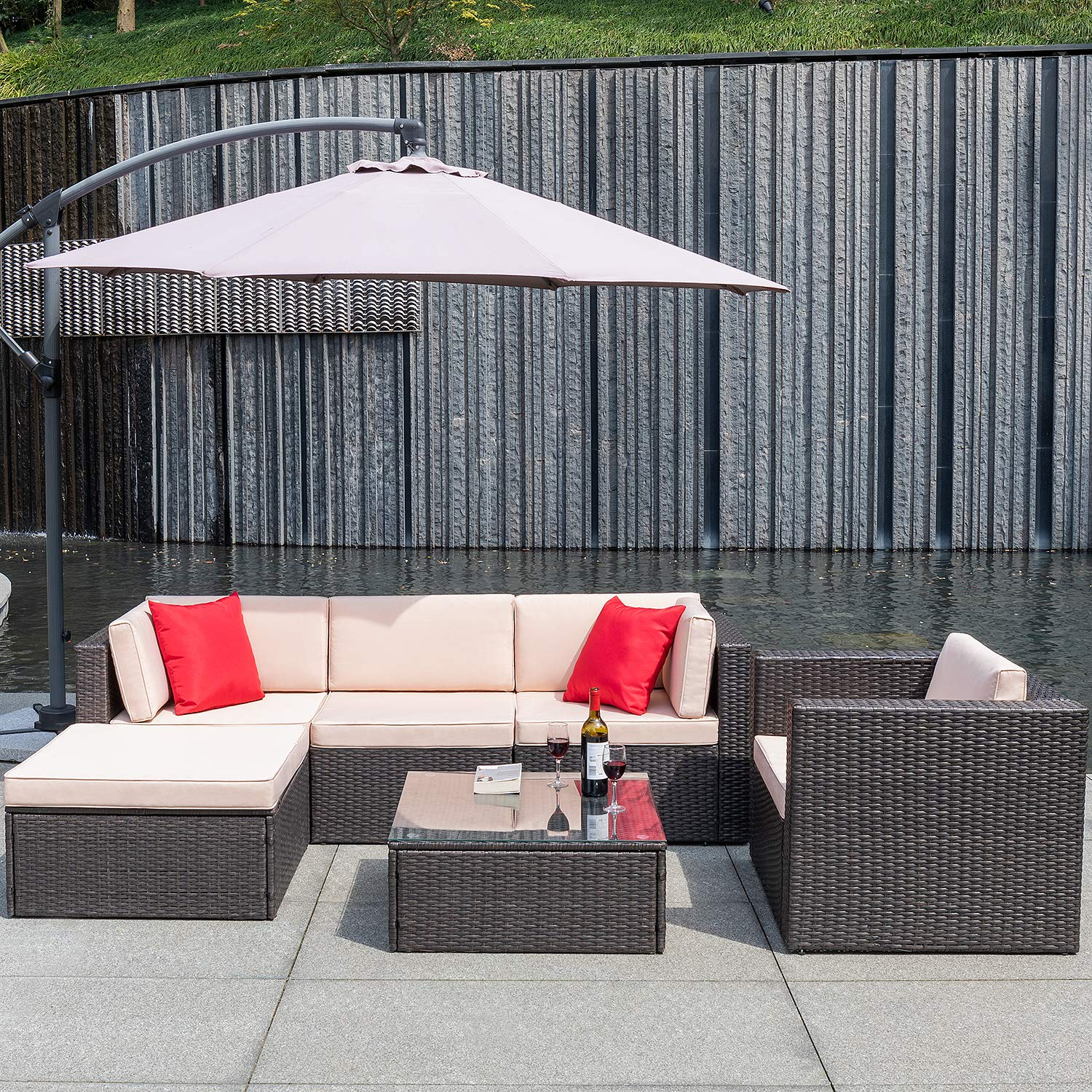 Flamaker 6 Pieces Patio Furniture Set Outdoor Sectional Sofa Outdoor Furniture Set Patio Sofa Set Conversation Set with Cushion and Table (Beige) by Flamaker