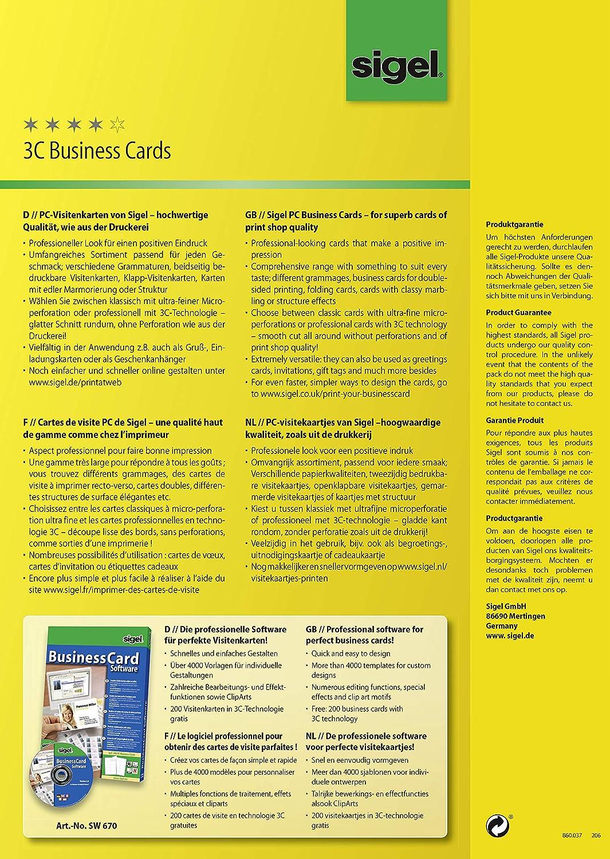 Sigel LP791 Tarjetas de visita 3C 190 g 400 unds.=40 hojas A4 85x55 mm