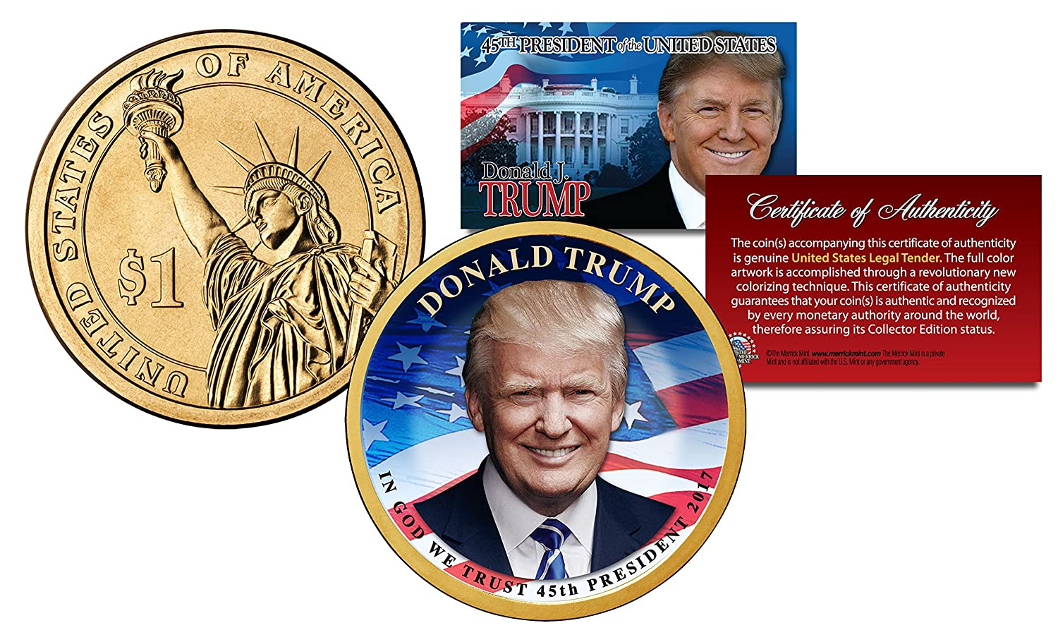 DONALD TRUMP 45th President Official Colorized 2016 Presidential Dollar $1 Coin The Merrick Mint