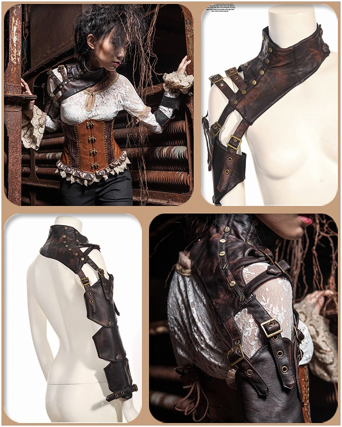 Steampunk Vests and Wraps Steampunk VTG Retro leather arm warmer bolero Shrug Shawl Cape Wraps Top Jacket $69.66 AT vintagedancer.com