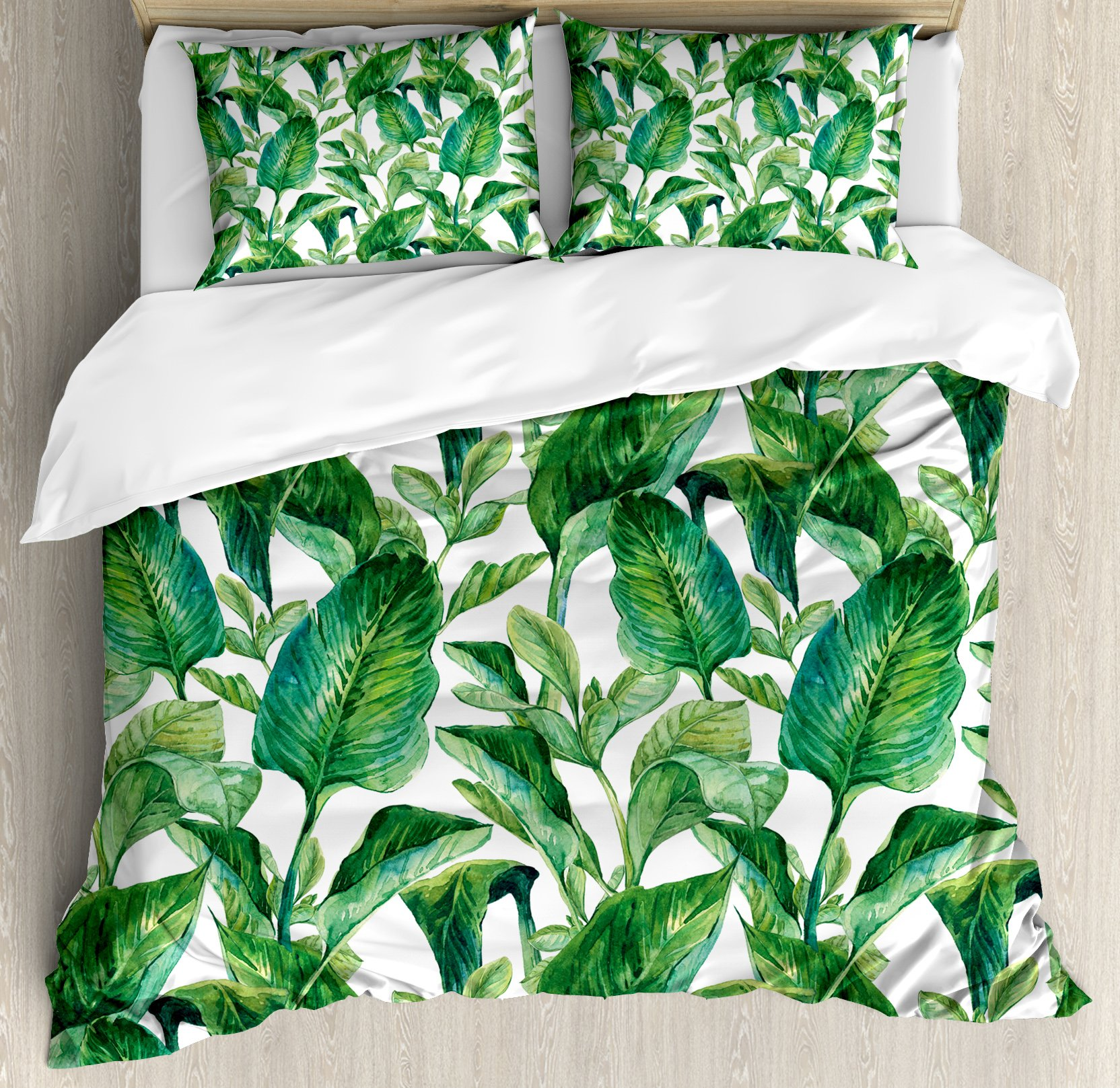 Ambesonne Leaf Duvet Cover Set Queen Size, Romantic Holiday Island Hawaiian Banana Trees Watercolored Image, Decorative 3 Piece Bedding Set with 2 Pillow Shams, Dark Green and Forest Green