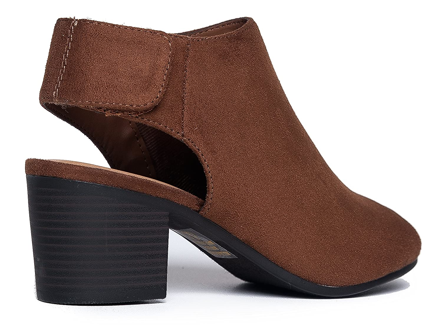 1d00ad2e6e7 Amazon.com  J. Adams Harlyn Ankle Bootie - Adjustable Band Peep Toe Low  Stacked Heel Boots  Shoes