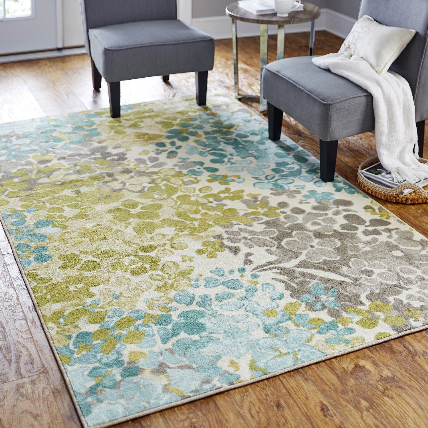 Mohawk Home Aurora Radiance Abstract Floral Printed Area Rug, 5'x8',Aqua Multicolor
