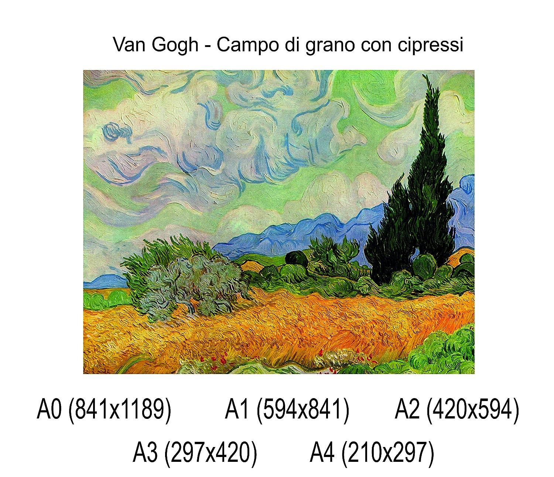 Van Gogh Fine Art Print Locandina HD 100/% QUALIT/à ITALIA Idea Regalo Casa quadro home Social Crazy POSTER su carta fotografica premium 270 gr Campo di grano con cipressi A0
