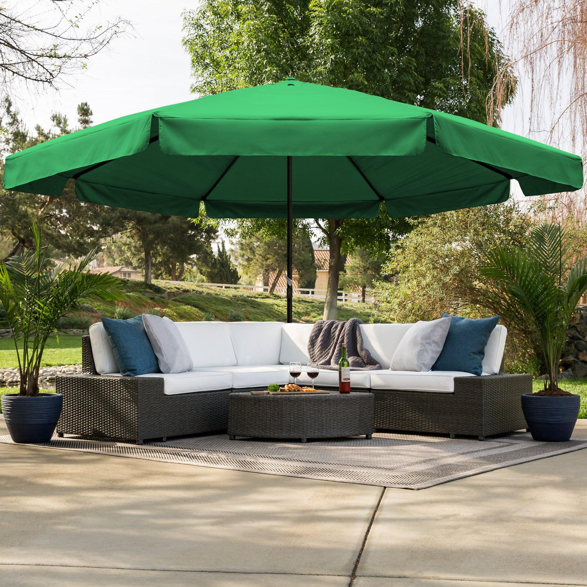 Best Choice Products 16ft Outdoor Patio Drape Canopy Market Umbrella w/Cross Base, Crank, Air Vent - Green