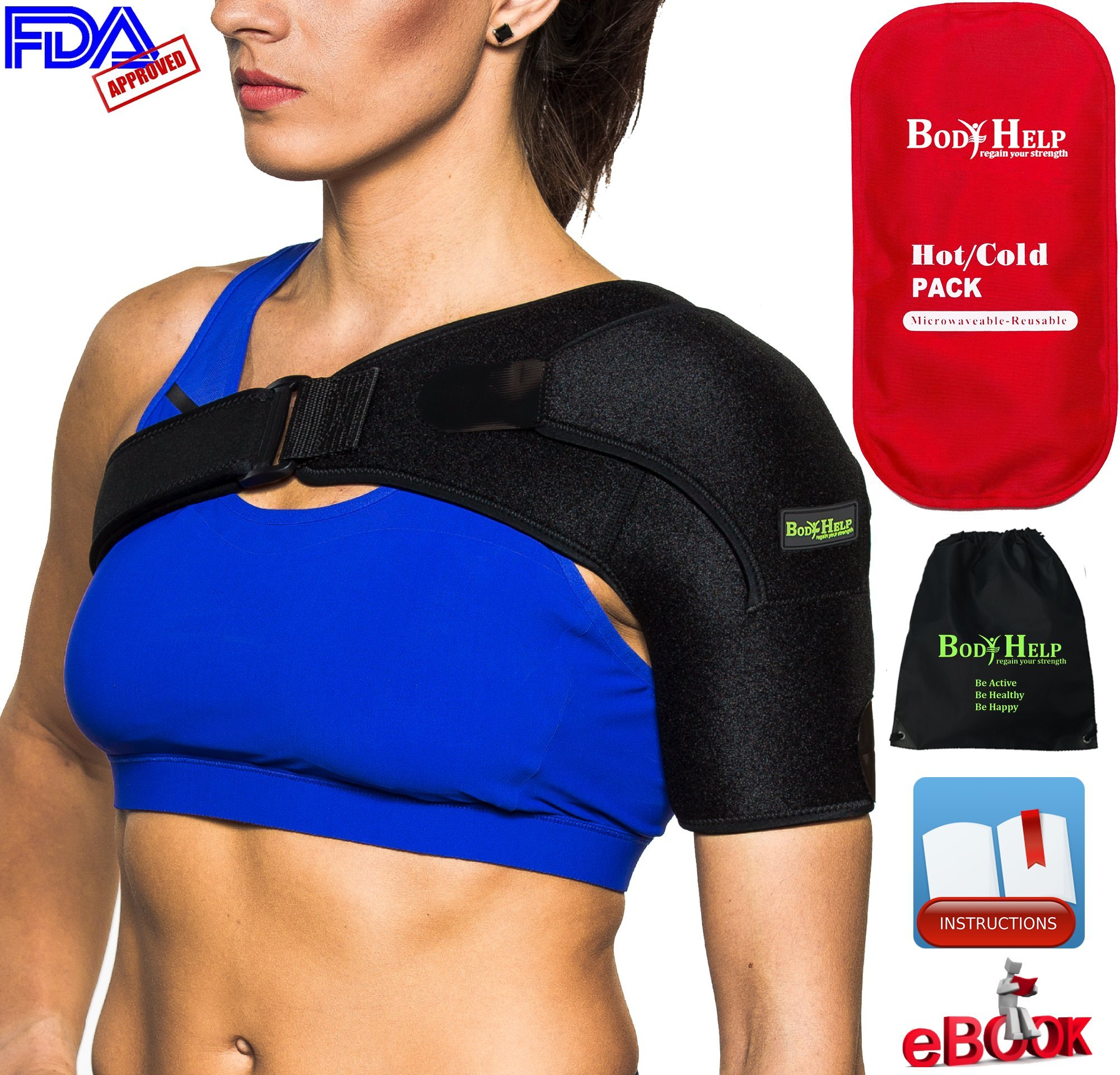BODY HELP Shoulder Brace Support with Pressure Pad + Hot Cold Reusable Pack for Immediate Pain Relief + Bag + Ebook + Instructions Best Wrap for Rotator Cuff, Dislocated AC, Sprain, Soreness, Bursitis by Body Help