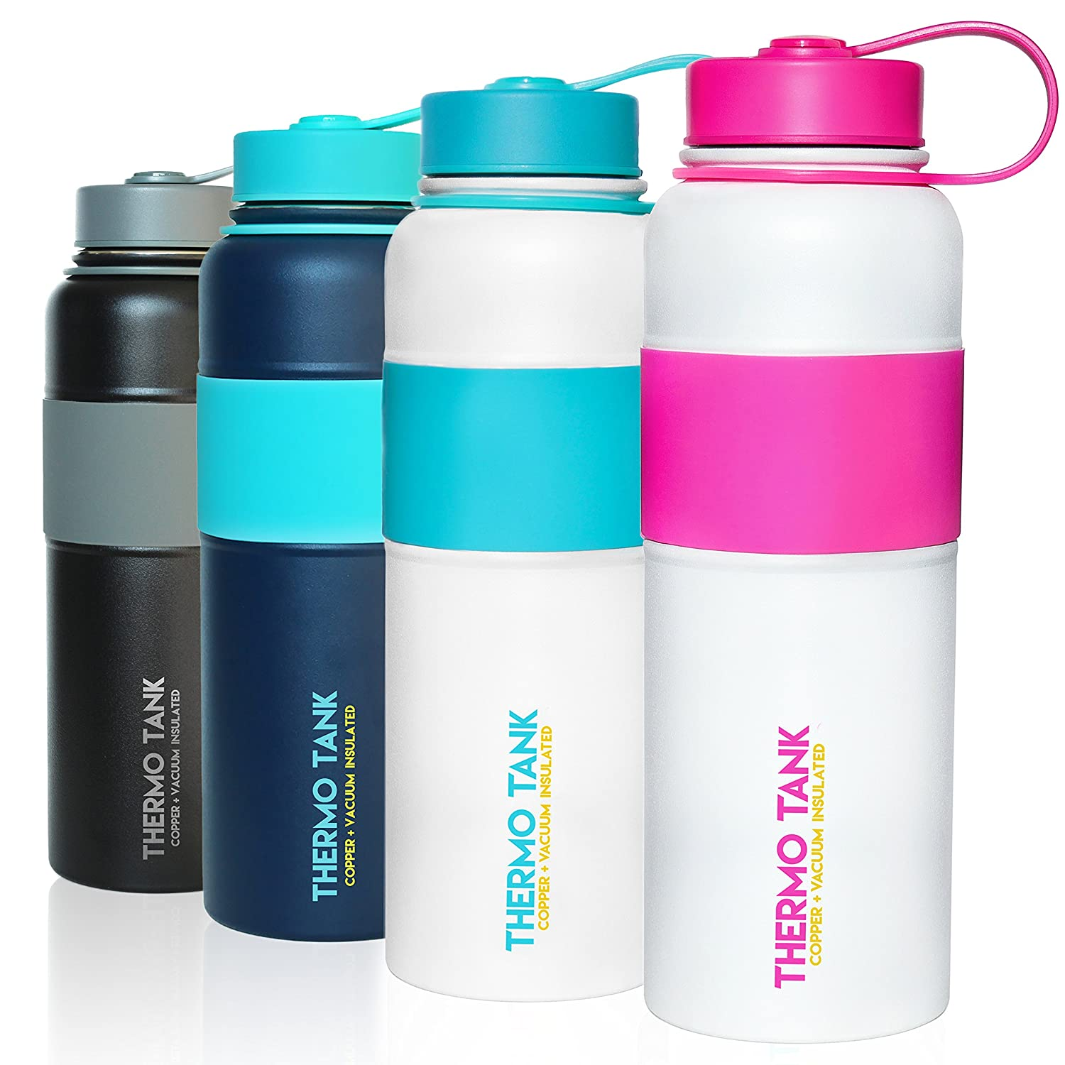 Thermo Tank Insulated Stainless Steel Water Bottle - Ice Cold 36 Hours! Vacuum + Copper Technology - Rubber Grip, SS Inner Lid - 40 Ounce