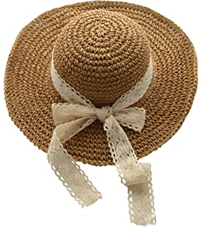 440207ca41e Demarkt Narrow Brim Braid Sun Hat Summer Beach Hat Gardening Hat for ...