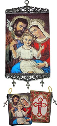 World Faith Icon Pouch Holy Family Icon Tapestry Rosary Pouch and Icon Banner Set of 2 Pcs