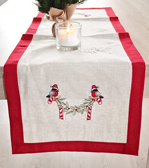 camino de mesa Azúcar Barra, Beige Rojo Blanco Ropa de mesa Mantel ...