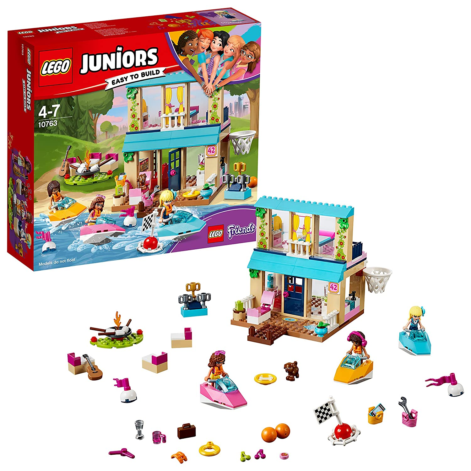 LEGO 10763 Juniors Stephanie's Lakeside House, Andrea and Olivia Mini Doll House, Building Toy for Girls