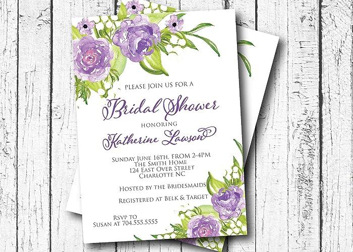 Amazon lavender roses bridal shower invitation purple bridal lavender roses bridal shower invitation purple bridal shower baby shower its a girl filmwisefo