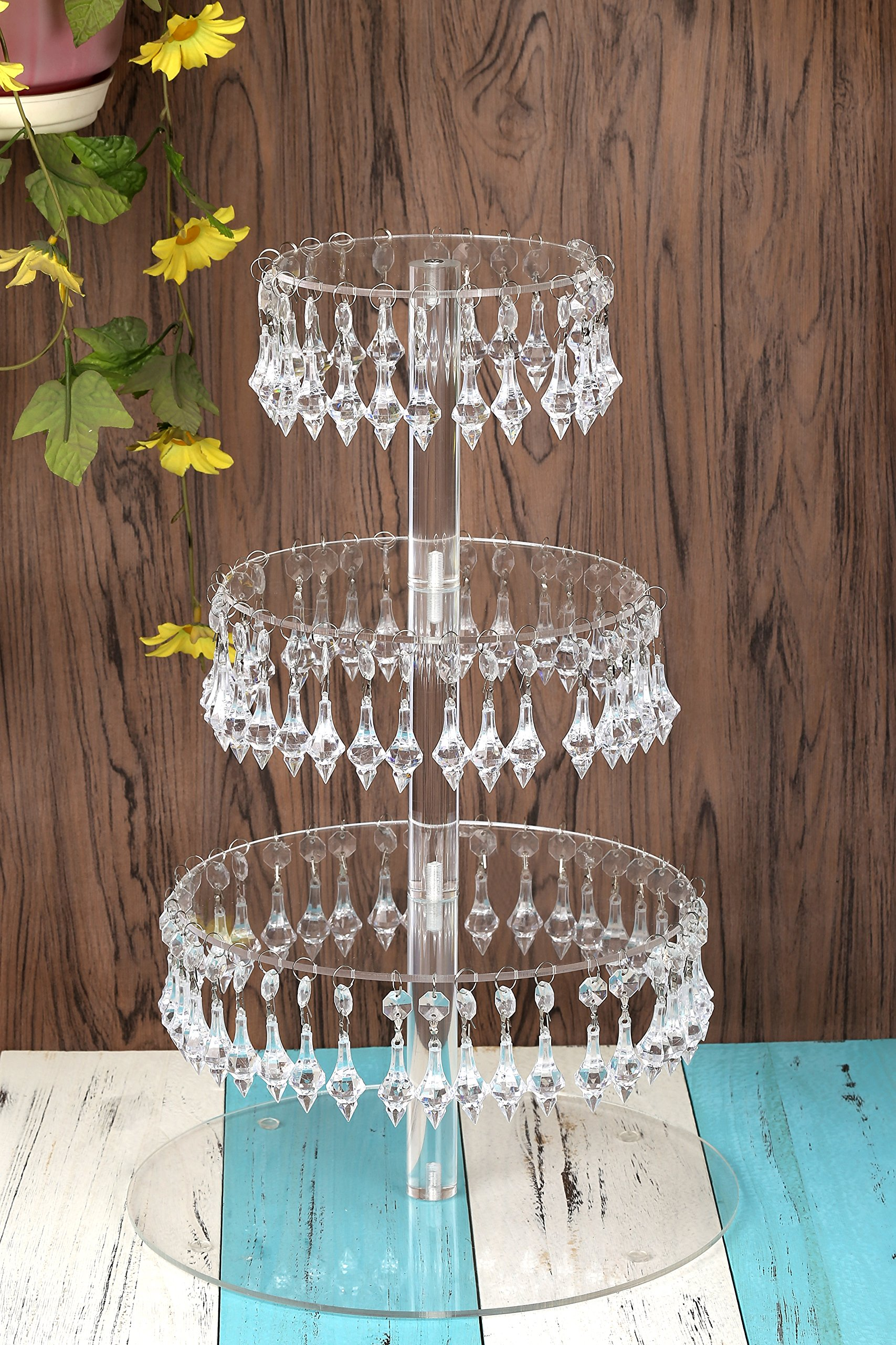 YestBuy Pendant Drill 4 Tier Round Acrylic Cupcake Stand 1 pc/Pack ¡ by YestBuy (Image #2)