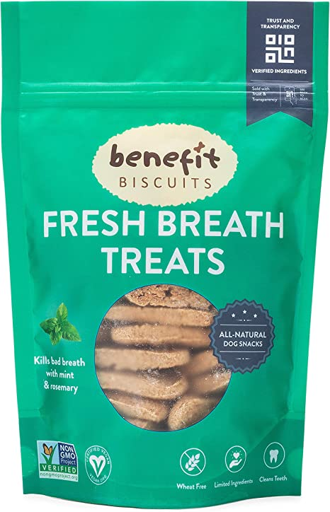 Amazon Com Benefit Biscuits All Natural Dog Treats Certified Vegan Non Gmo Wheat Free Healthy Dog Biscuits Made In Usa Mint Regular Bag 7oz Kitchen Dining